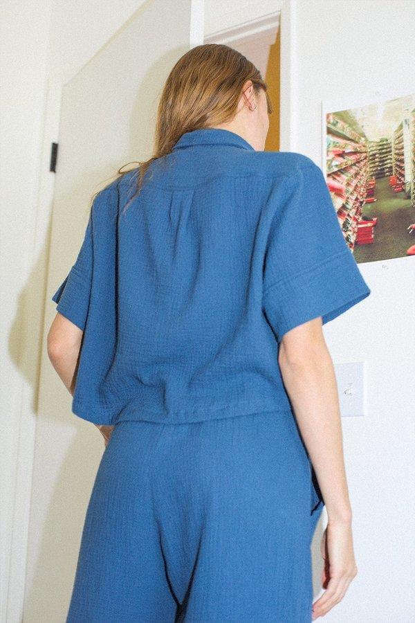 BACK BEAT RAGS Organic Cotton Pajama Top - Denim
