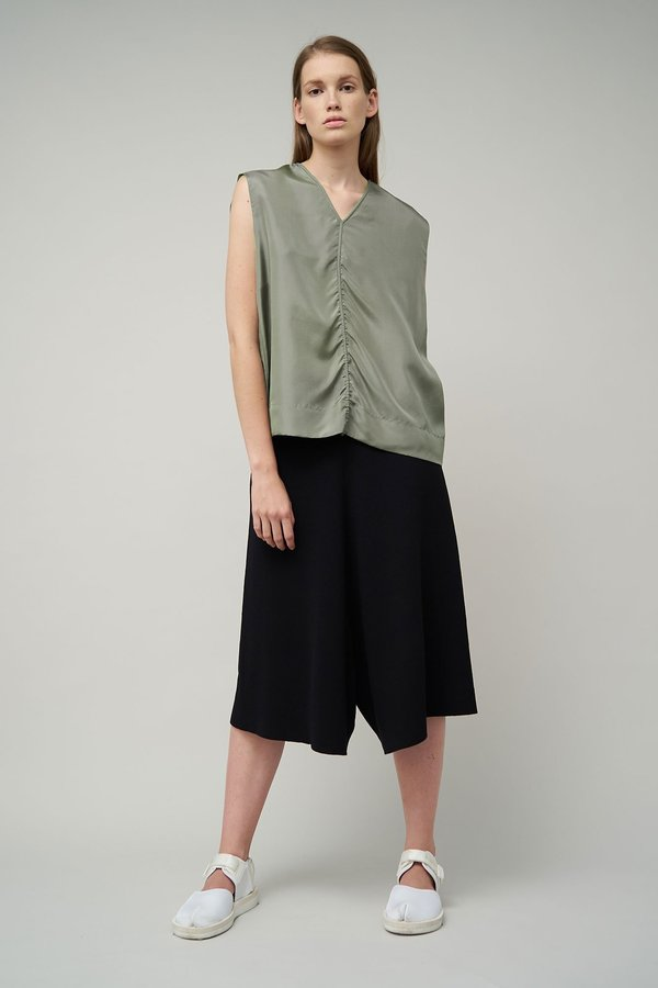 OYUNA Jasia Woven Luxury Sleeveless Cotton Top - Green Mist