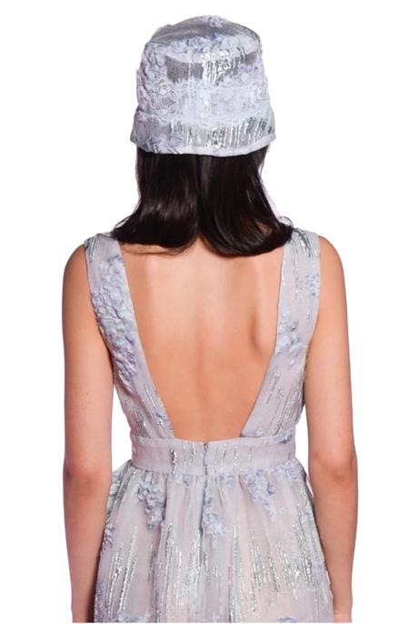 Anna Sui Wisteria Puff Jacquard Hat - Cornflower Multi