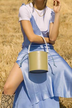 Audette Seau Bag - Olive/Cream