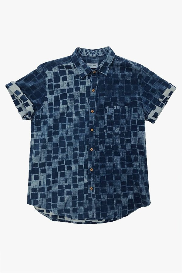 Raga Man Indigo SS Button Down Shirt - Squares