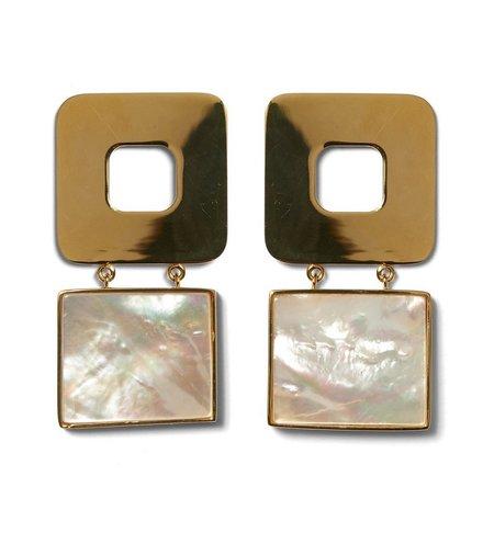 Lizzie Fortunato GEO PEARL EARRINGS - GOLD