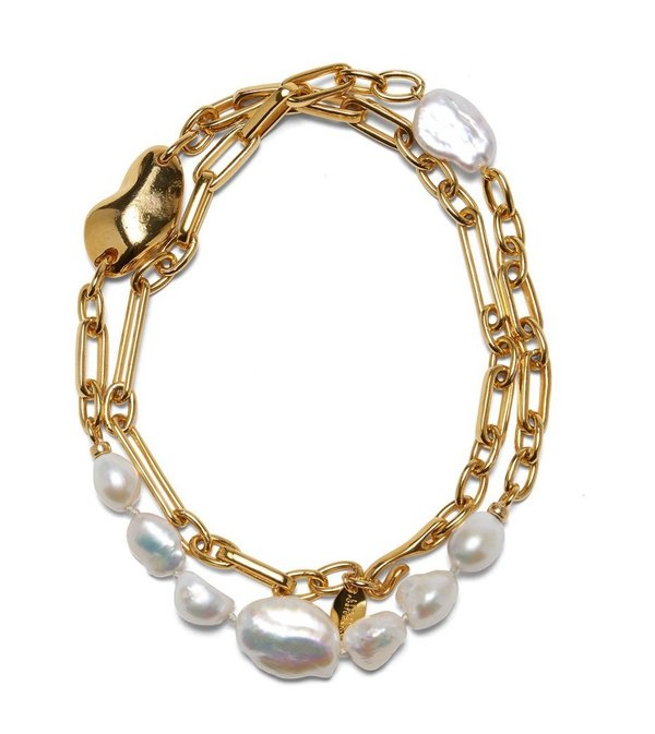 Lizzie Fortunato OYSTER PEARL NECKLACE - GOLD