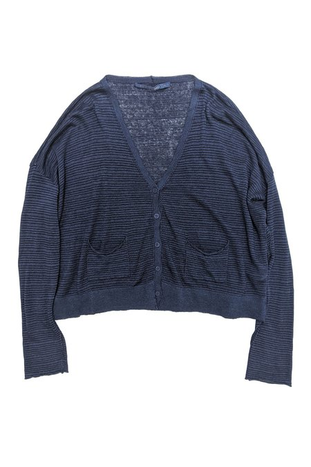 Transit Par Such Striped V-Neck Cardi - Navy