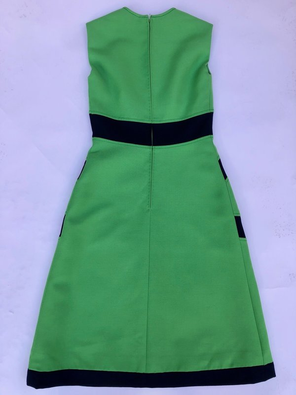 VINTAGE MOD 60'S DRESS - GREEN/NAVY