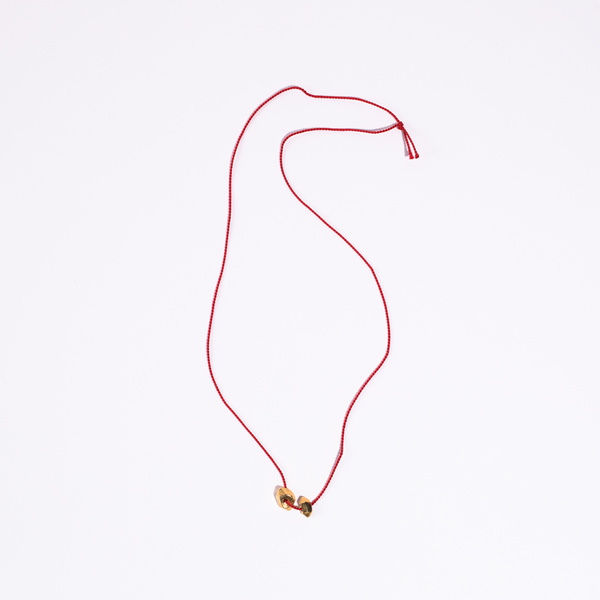 Aesa String Necklace with Two Brass Charms