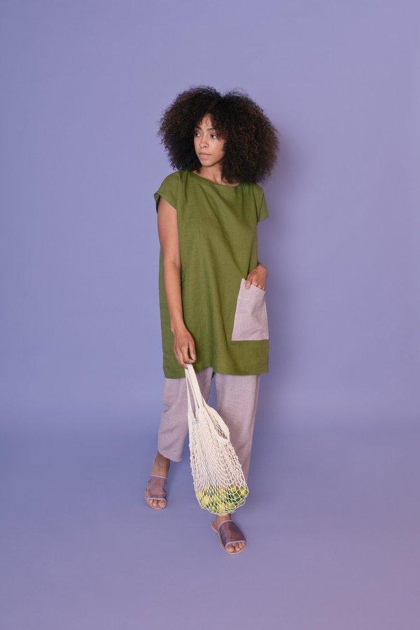 MARTY JEAN linen Color Block Sleeveless Uniform Tunic