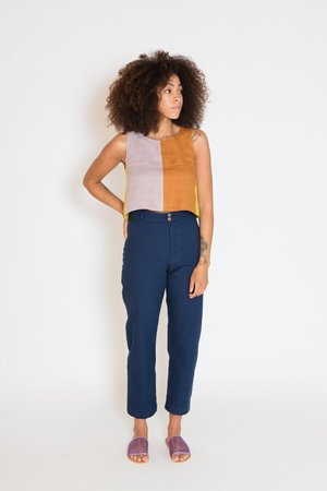 MARTY JEAN linen Color Block Uniform Tank
