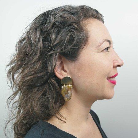 Mesa Kosmos Earrings - Agate/Brass