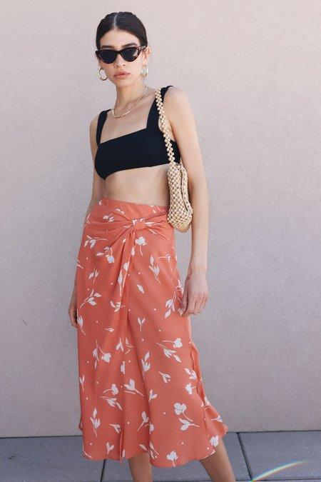 Lush Floral Print Wrap Skirt - Salmon