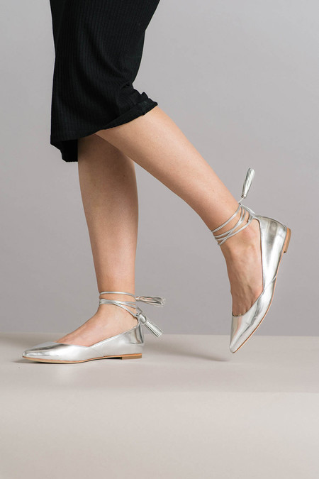 Loeffler Randall Penelop Silver Flats