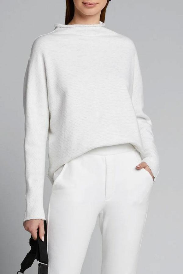 Tee Lab Funnel Neck Sweatshirt - White/Grey