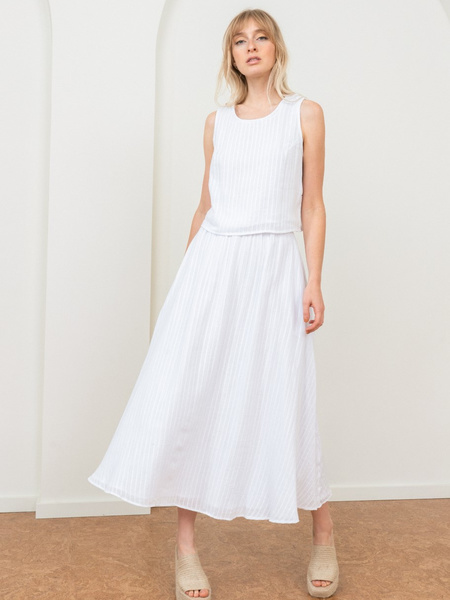 Tribe Alive Flowy Midi Skirt - White Stripe