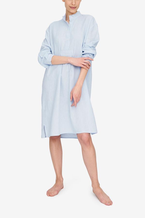 The Sleep Shirt Long Sleep Shirt - Capri Blue Linen Blend