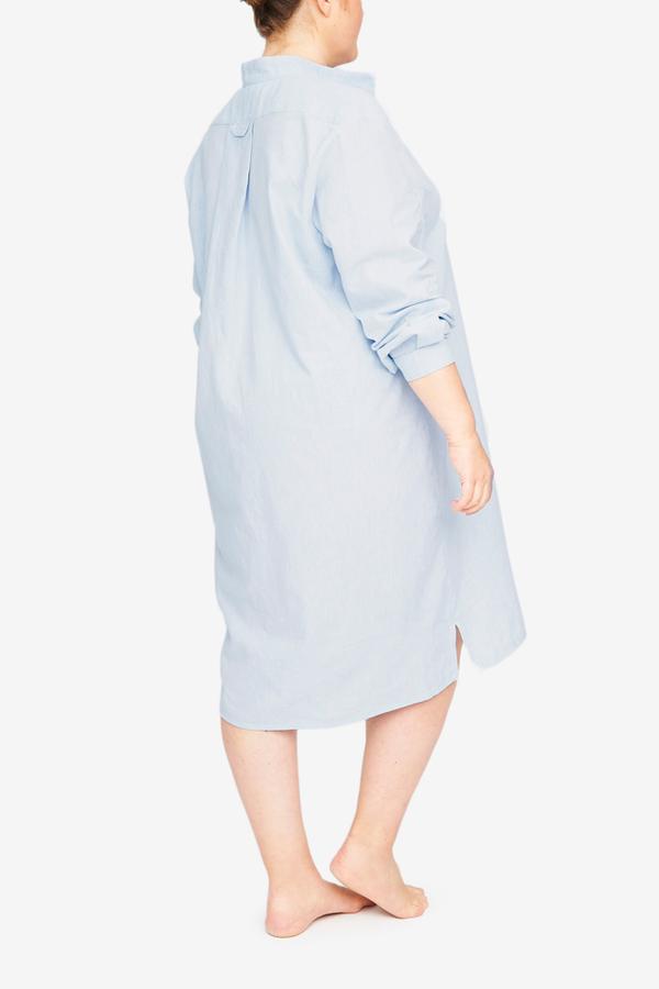 The Sleep Shirt Long Sleep Shirt - Capri Blue Linen Blend PLUS