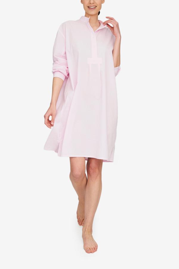 The Sleep Shirt Long Sleep Shirt - Pink Seersucker