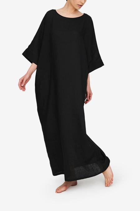 The Sleep Shirt Oversized Kaftan - Black Linen