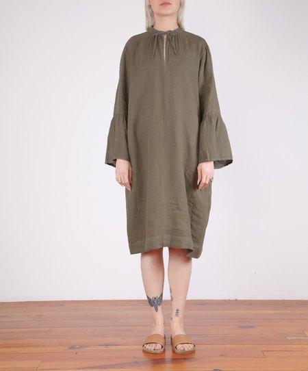 Hartford-Roda Bell Sleeve Linen Dress - ARMY