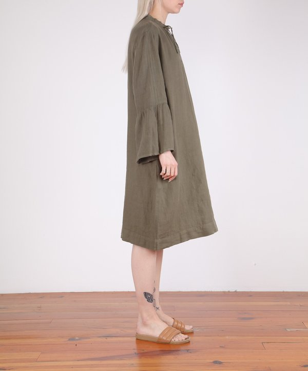 Hartford-Roda Bell Sleeve Linen Dress - ARMY