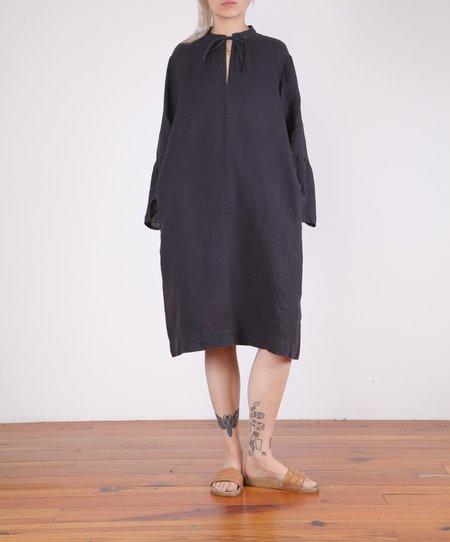 Hartford-Roda Bell Sleeve Linen Dress - CHARCOAL
