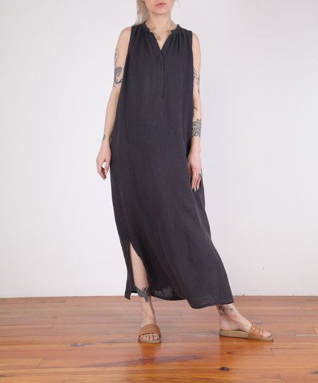 Hartford-Roma Sleeveless Long Linen Dress - CHARCOAL