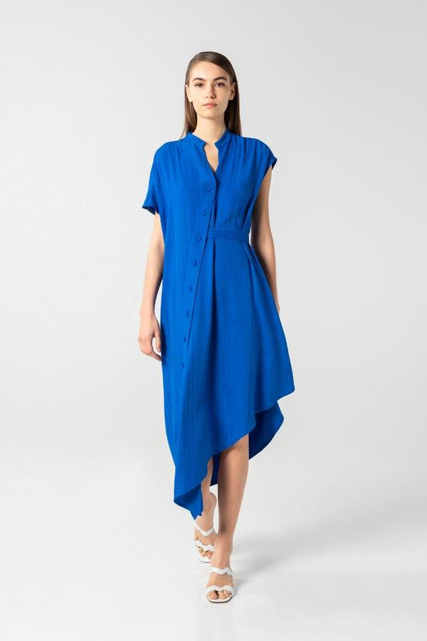 AISHA DIRI ASYMMETRIC LONG DRESS - Saphire Blue