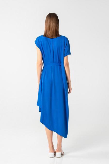 AISHA DIRI ASYMMETRIC LONG DRESS - Saphire Blue