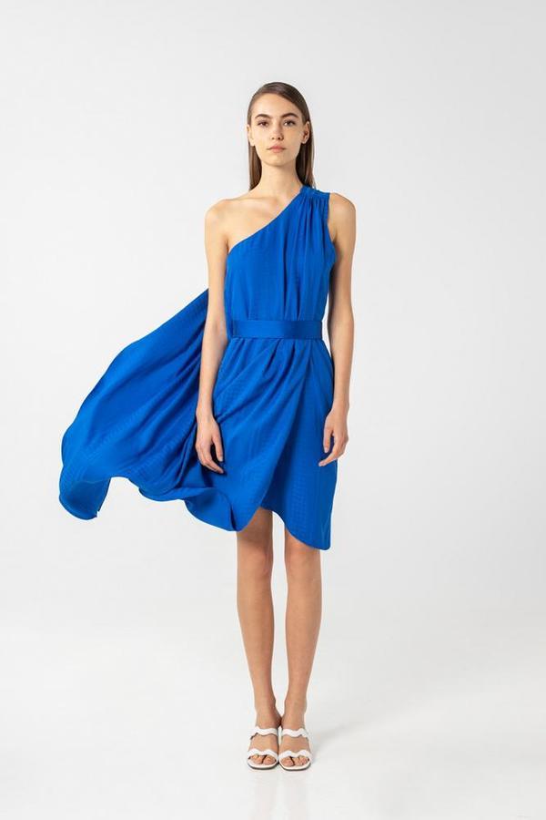 AISHA DIRI ASYMMETRIC LONG DRESS ONE SHOULDER - Saphire Blue