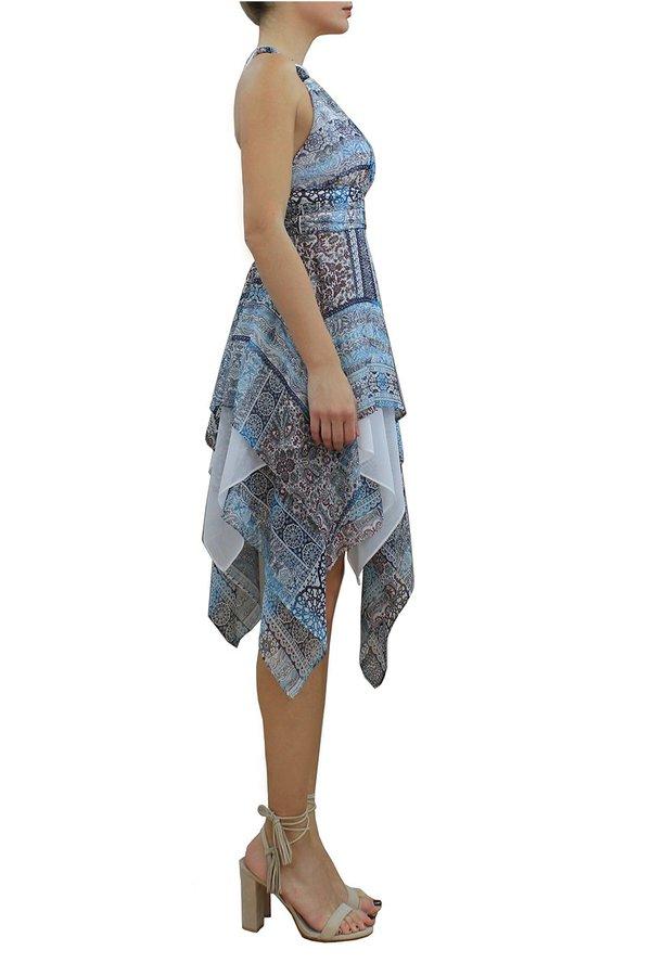MARILIA CHRISTINA ASYMMETRIC PRINTED SILK DRESS