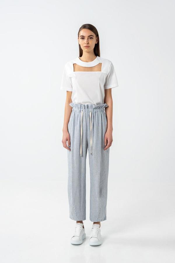 AISHA DIRI BALLOON DRAWSTRING PANTS - Blue/White