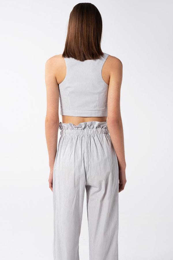 AISHA DIRI CROP TOP - Grey/White