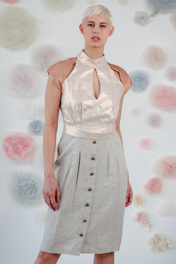 1014Lex. DRESS WITH ROSE GOLD JERSEY - Pink