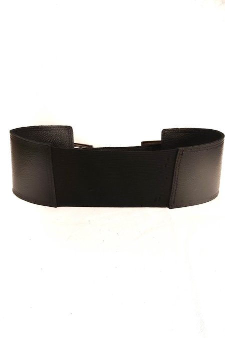 SHEEP & WOLVES HANDCRAFTED LEATHER BELT WITH DOUBLE BRONZE METAL BUCKLE - BLACK