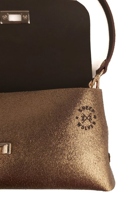 SHEEP & WOLVES HANDCRAFTED LEATHER PURSE & CROSS BODY BAG - BRONZE