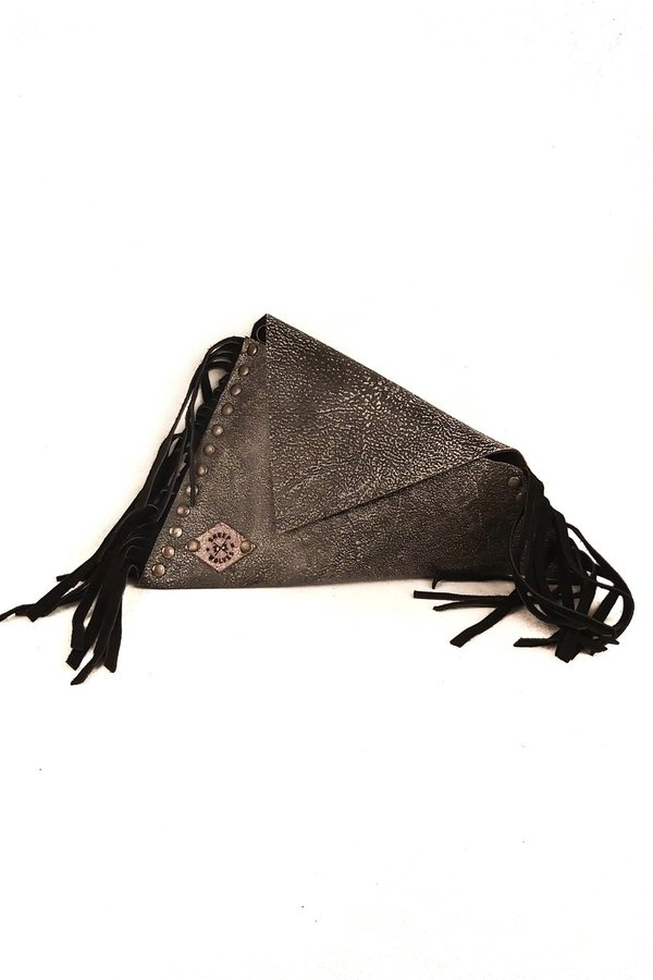 SHEEP & WOLVES HANDCRAFTED FANCY LEATHER ASYMMETRIC ENVELOPE