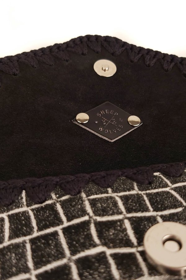 SHEEP & WOLVES HANDCRAFTED LEATHER & CROCHET ENVELOPE