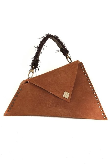 SHEEP & WOLVES HANDCRAFTED SUEDE ASYMMETRIC ENVELOPE BAG WITH HANDLE