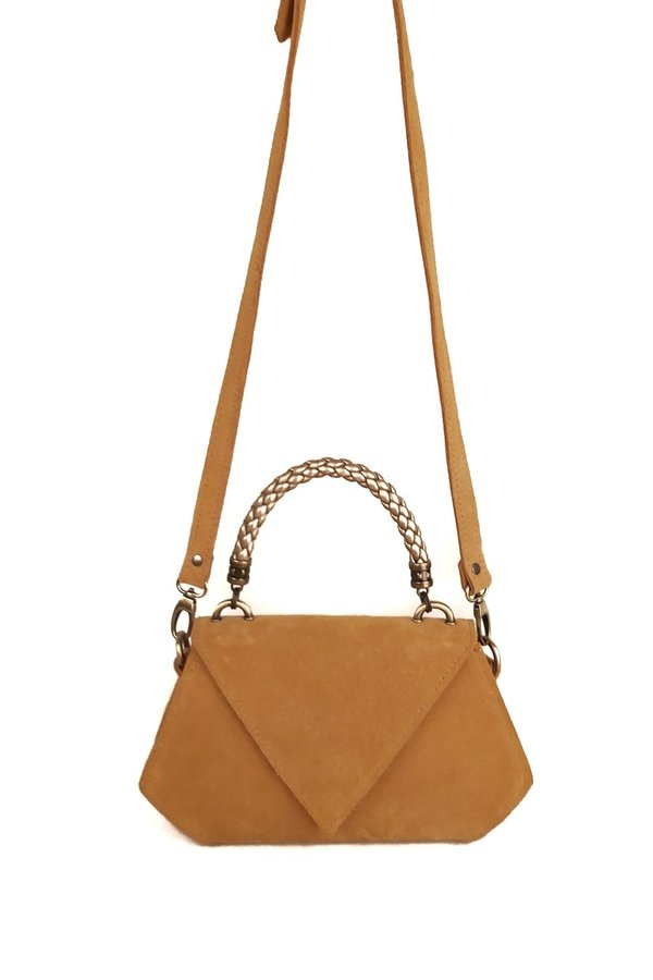 SHEEP & WOLVES HANDCRAFTED SUEDE POLYGON SHAPED SHOULDER BAG