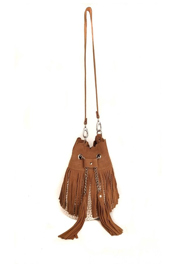 SHEEP & WOLVES HANDMADE CROCHET & SUEDE POUCH WITH SUEDE FRINGES