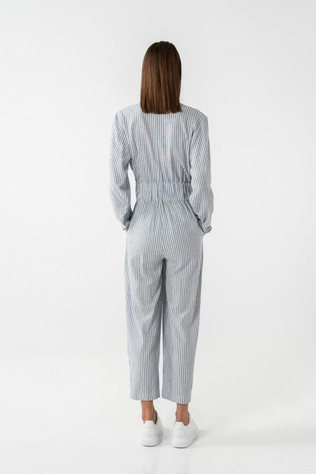 AISHA DIRI LONG SLEEVED JUMPSUIT - Skyblue/White stripes