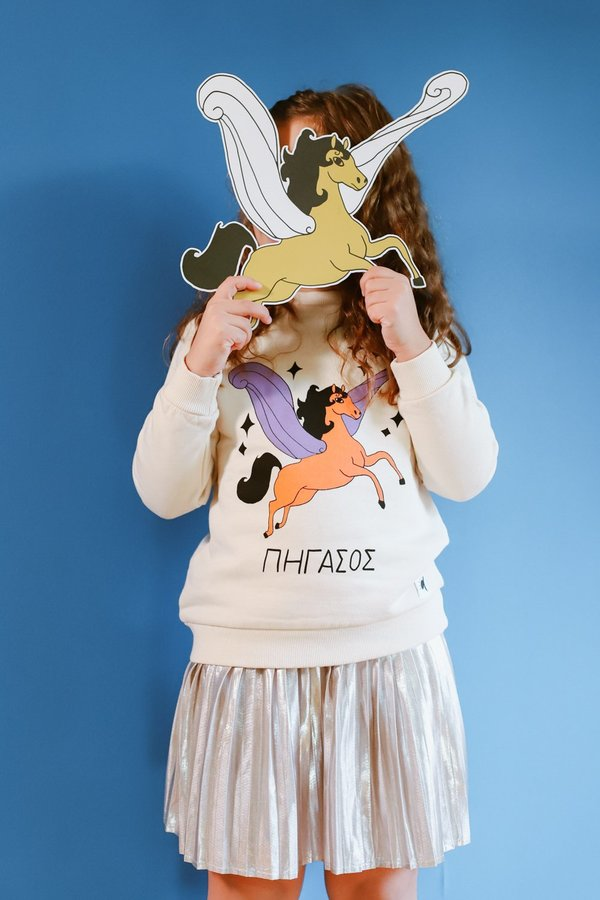 Kids ARTEMIS & APOLLON ORANGE AND PURPLE PEGASUS BEIGE SWEATSHIRT