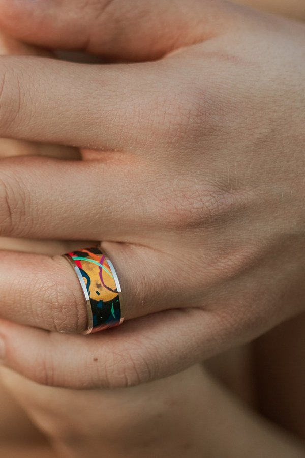 Unisex Icebow Designs Space Wide Ring