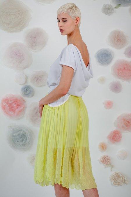 1014Lex. BIAS DRESS WITH PLEATED SKIRT - WHITE/YELLOW