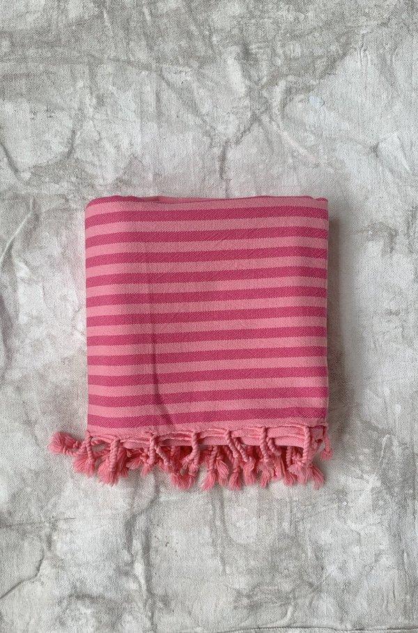 Cuttalossa & Co. Overdyed Retro Stripe Pestemal - Coral Pink