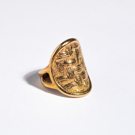 Saint Claude x Freda Oval Basketweave Ring - Brass
