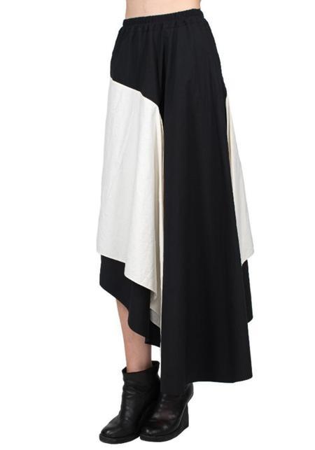 Asymmetric Color Block Skirt - BLACK/WHITE