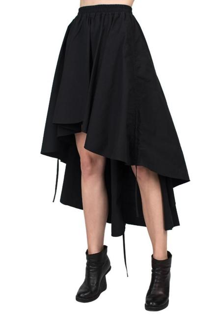 Asymmetric Drawstring Detail Skirt - black
