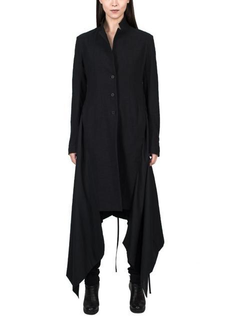 Drawstring Detail Long Jacket - black