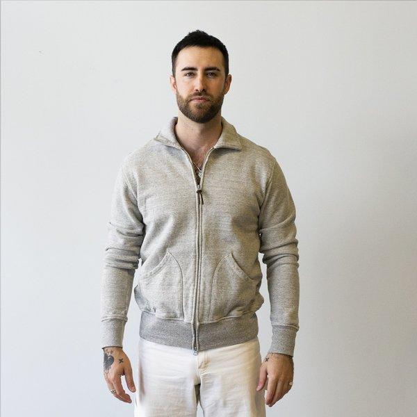National Athletic Goods Full Zip Campus Mock Twist Terry - Mid Grey