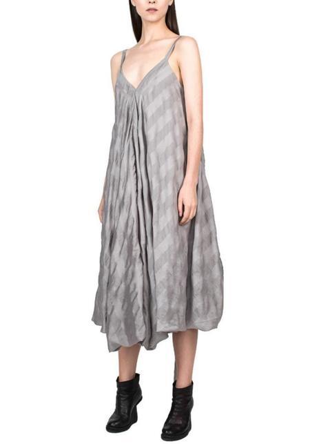 Tie Waist Striped Dress - grey